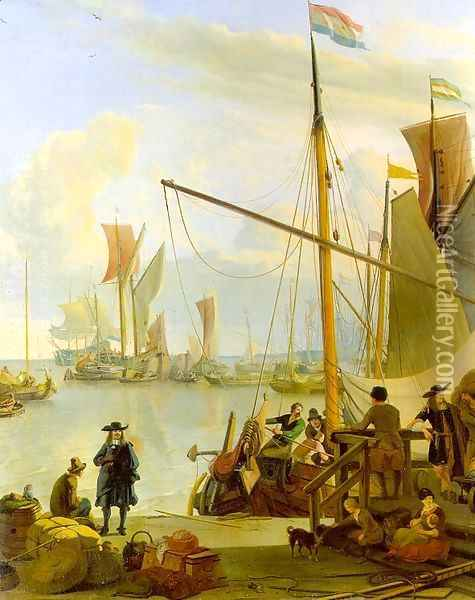 View From The Mussel Pier In Amsterdam 1673 Oil Painting - Ludolf Backhuysen