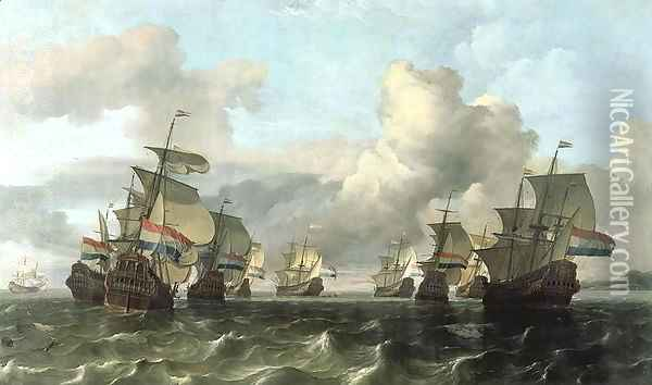 The Dutch Fleet of the India Company 1675 Oil Painting - Ludolf Backhuysen