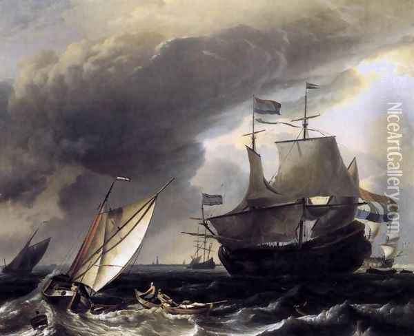 Dutch Vessels on the Sea at Amsterdam c. 1708 Oil Painting - Ludolf Backhuysen