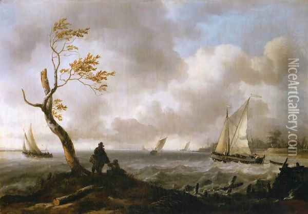 Fishing Boats and Coasting Vessel in Rough Weather Oil Painting - Ludolf Backhuysen