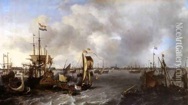 View of Amsterdam with Ships on the Ij Oil Painting - Ludolf Backhuysen