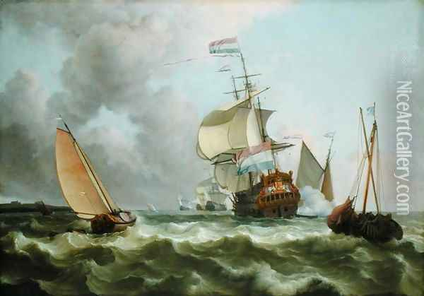 The Warship Hollandia in Full Sail Oil Painting - Ludolf Backhuysen