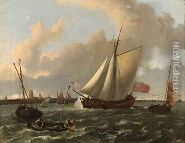 A British sloop and other shipping in a stiff breeze on the Maas by Dordrecht Oil Painting - Ludolf Backhuysen