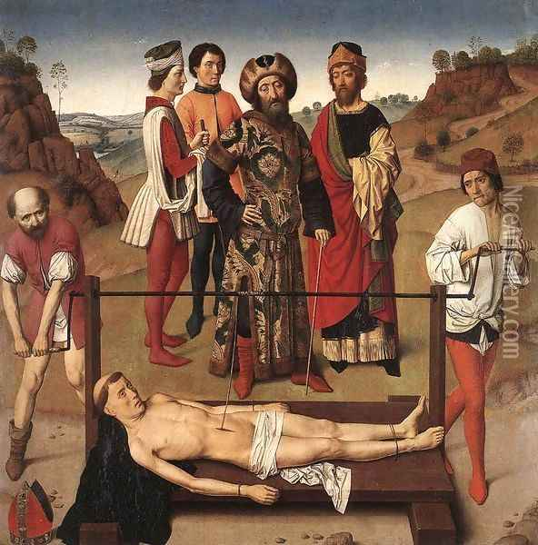 Martyrdom of St Erasmus (central panel) c. 1458 Oil Painting - Dieric the Elder Bouts