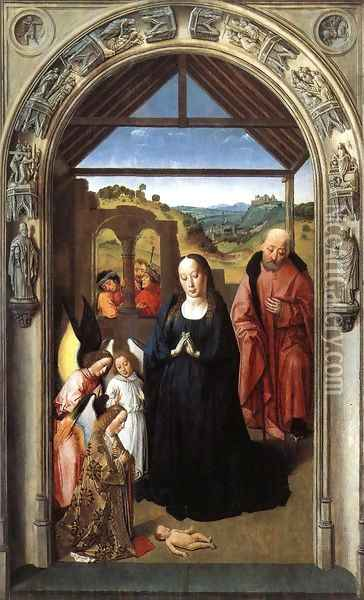 Nativity c. 1445 Oil Painting - Dieric the Elder Bouts
