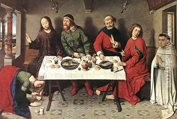 Christ in the House of Simon 1440s Oil Painting - Dieric the Elder Bouts