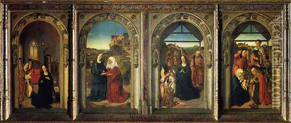 Polyptych Showing The Annunciation The Visitation The Adoration Of The Angels And The Adoration Of The Kings Oil Painting - Dieric the Elder Bouts