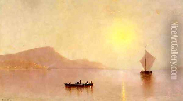 Sunset over the Palisades on the Hudson Oil Painting - Alfred Thompson Bricher