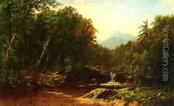 Fisherman by a Mountain Stream Oil Painting - Alfred Thompson Bricher