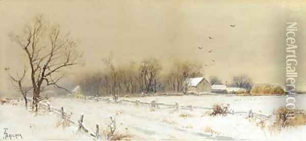 Farmhouse in the Snow Oil Painting - Alfred Thompson Bricher