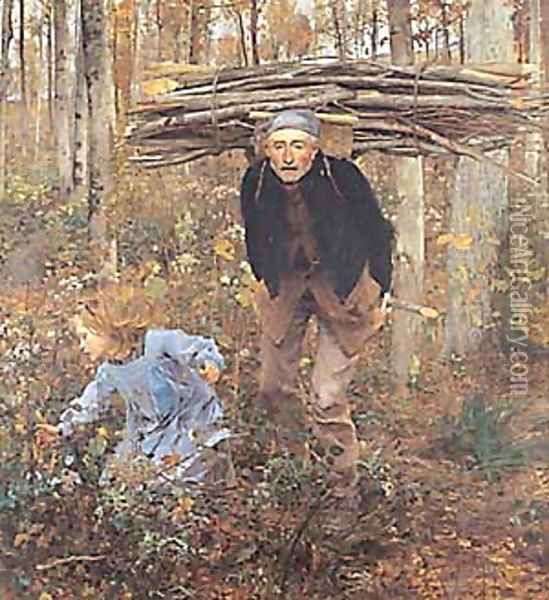The Wood Gatherer Oil Painting - Jules Bastien-Lepage
