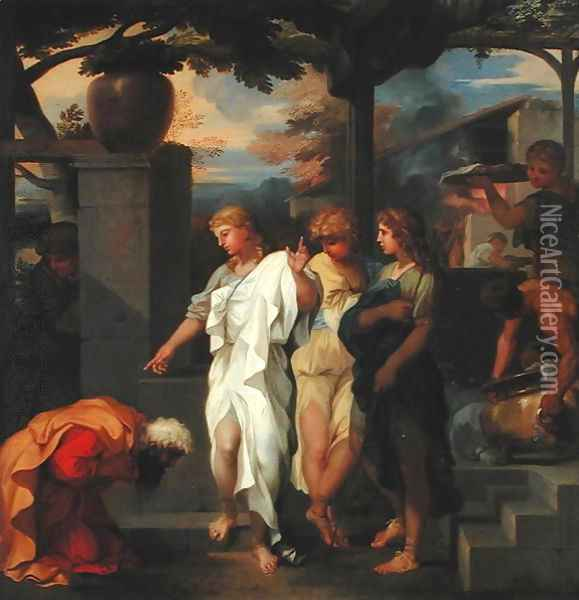 Abraham and the Three Angels Oil Painting - Sebastien Bourdon