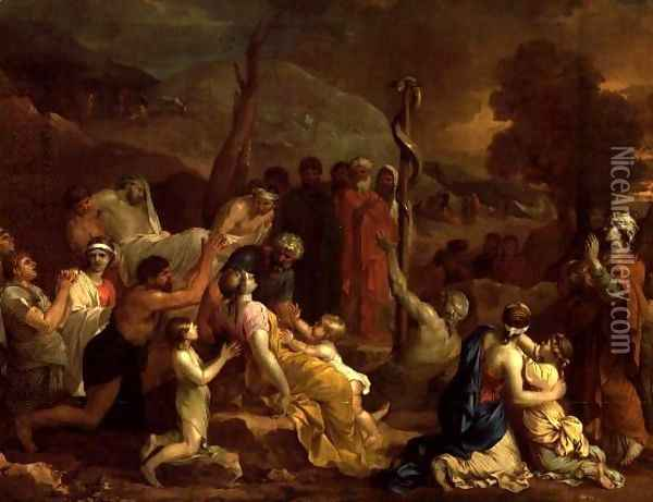 Moses and the Brazen Serpent 1653 54 Oil Painting - Sebastien Bourdon