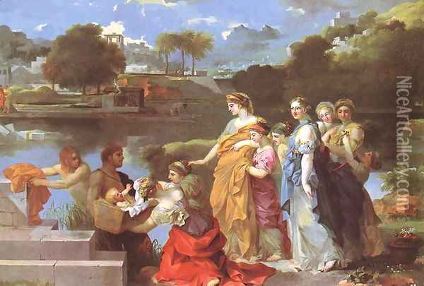 The Finding of Moses c. 1650 Oil Painting - Sebastien Bourdon