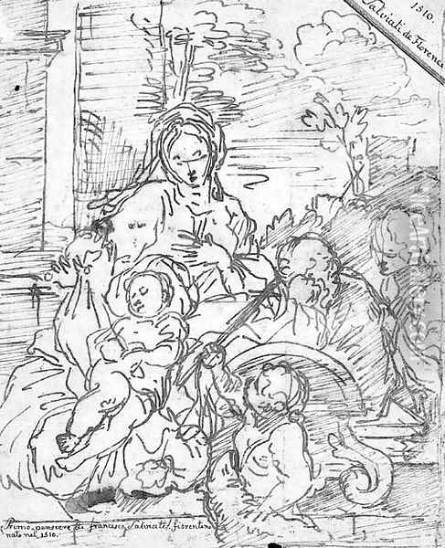 The Rest on the Flight into Egypt with the infant Baptist and another figure Oil Painting - Sebastien Bourdon