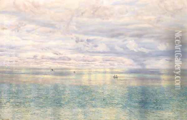 The Sicilian Sea, From the Taormina Cliffs Oil Painting - John Edward Brett
