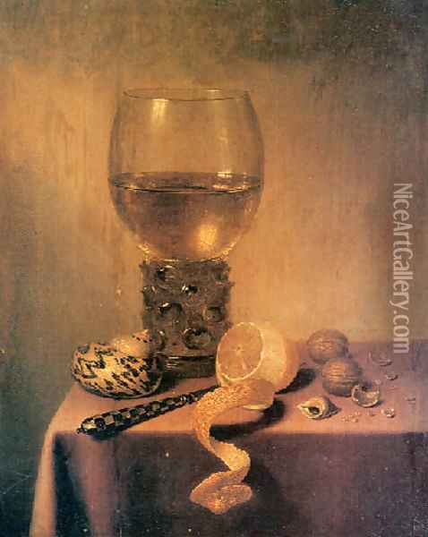 A roemer, two shells, a peeledlemon, a knife and walnuts on a Draped Table Oil Painting - Maerten Boelema De Stomme