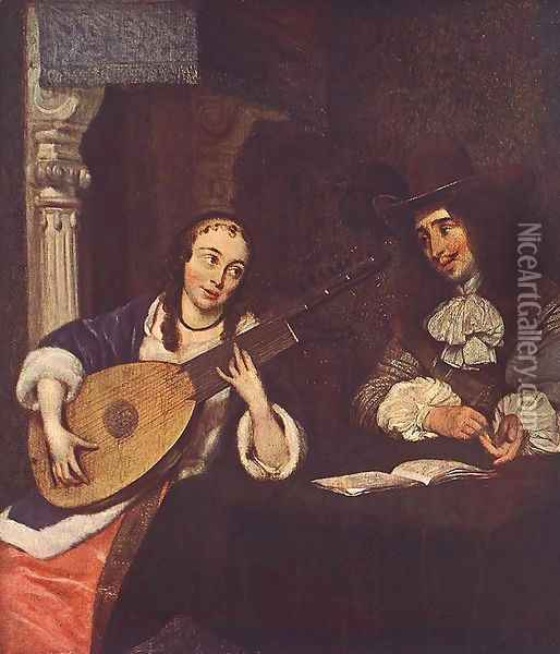 Woman Playing the Lute Oil Painting - Gerard Ter Borch
