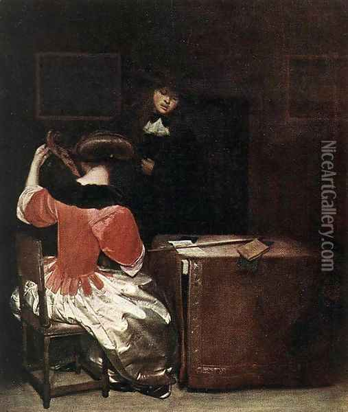 The Music Lesson Oil Painting - Gerard Ter Borch