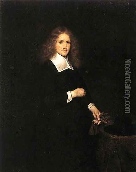 Portrait of a Young Man c. 1670 Oil Painting - Gerard Ter Borch