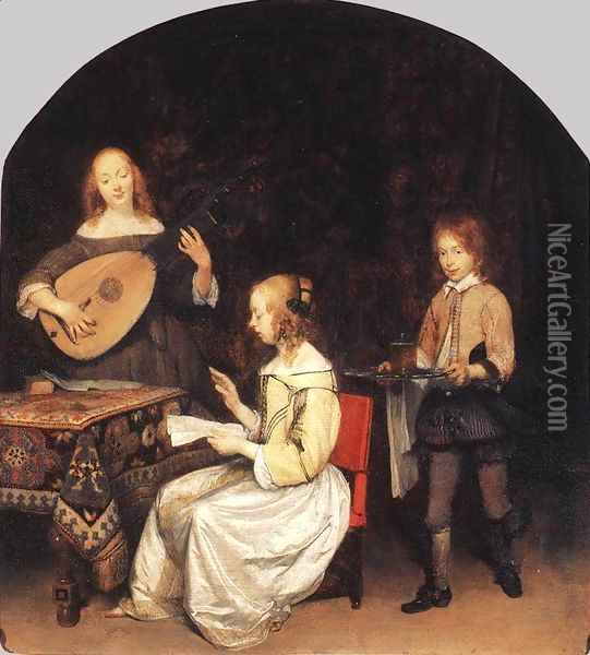 The Concert c. 1657 Oil Painting - Gerard Ter Borch