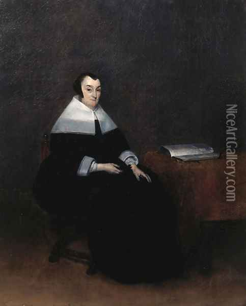 Portrait of an elderly woman, seated small full length by a table, wearing a black dress with lace collar and cuffs and a bonnet Oil Painting - Gerard Ter Borch