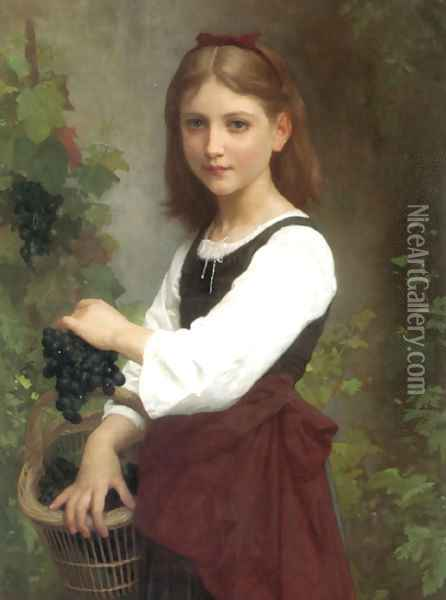 Young Girl Holding A Basket Of Grapes Oil Painting - Elizabeth Jane Gardner Bouguereau