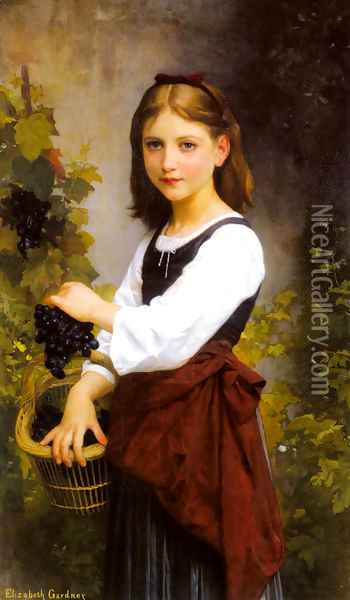 A Young Girl Holding A Basket Of Grapes Oil Painting - Elizabeth Jane Gardner Bouguereau