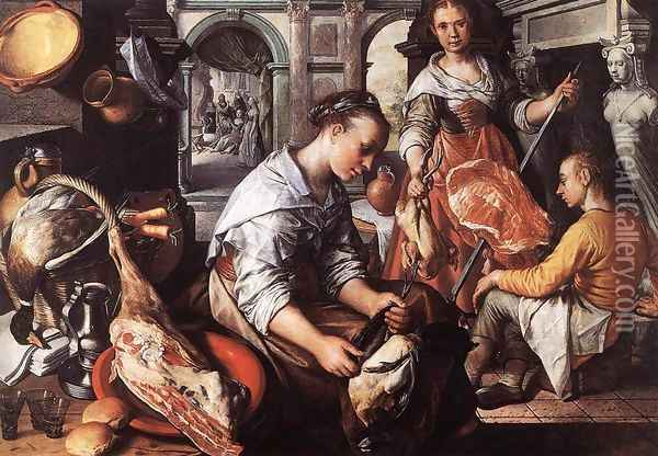 Christ in the House of Martha and Mary Oil Painting - Joachim Beuckelaer