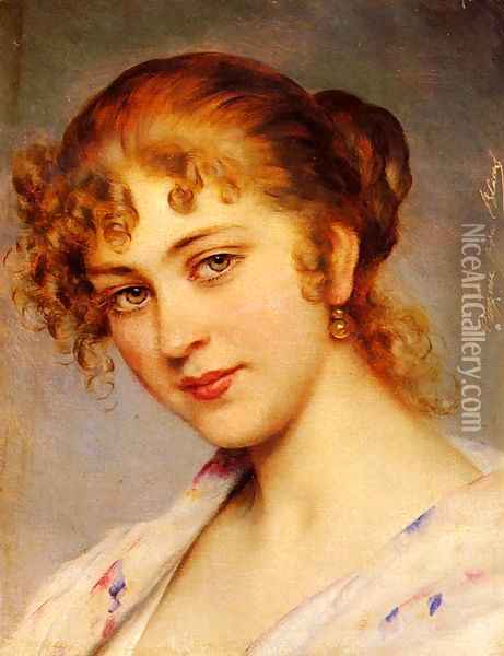 A Portrait Of A Young Lady Oil Painting - Eugene de Blaas