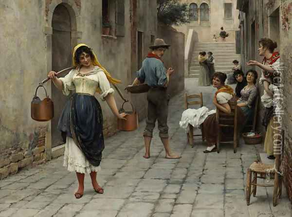 Catch of the day 1898 Oil Painting - Eugene de Blaas