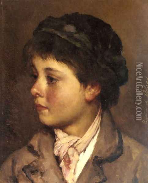 Head of a Young Boy Oil Painting - Eugene de Blaas