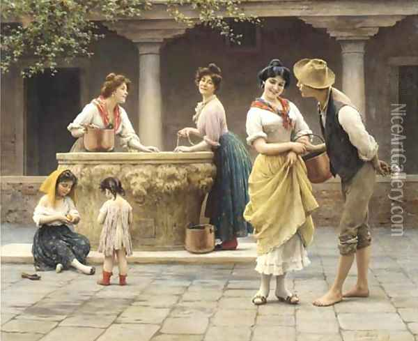Gossiping at the Well Oil Painting - Eugene de Blaas