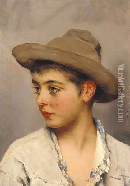 A young boy wearing a stetson Oil Painting - Eugene de Blaas