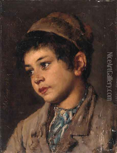 Portrait of a young boy, head and shoulders Oil Painting - Eugene de Blaas