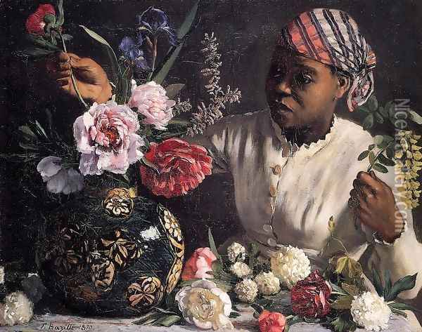 African woman with Peonies, 1870 Oil Painting - Frederic Bazille