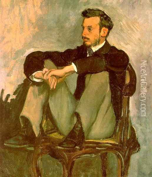 Portrait of Renoir 1867 Oil Painting - Frederic Bazille