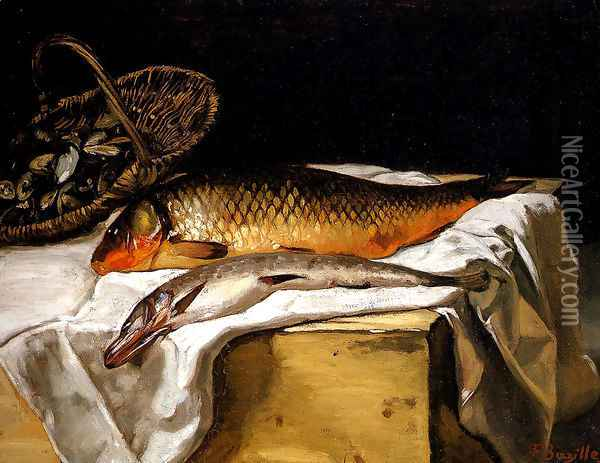 Still Life with Fish Oil Painting - Frederic Bazille