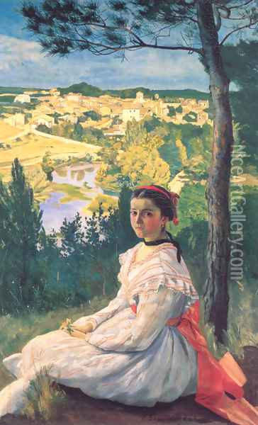 View of the Village 1868 Oil Painting - Frederic Bazille