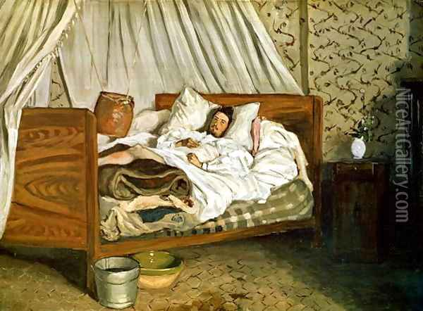 The Improvised Ambulance, The Painter Monet Wounded at Chailly-en-Biere 1865 Oil Painting - Frederic Bazille