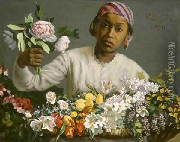 Young Woman with Peonies Oil Painting - Frederic Bazille