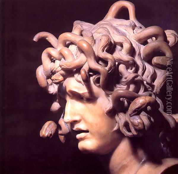 Medusa Oil Painting - Gian Lorenzo Bernini