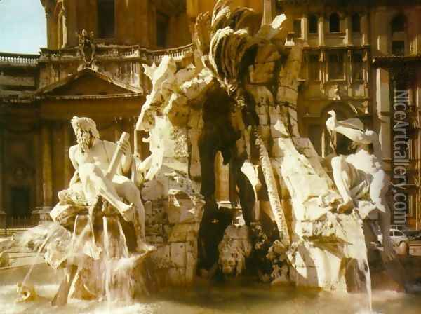 The Four Rivers Fountain Oil Painting - Gian Lorenzo Bernini