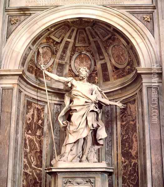 St. Longinus Oil Painting - Gian Lorenzo Bernini