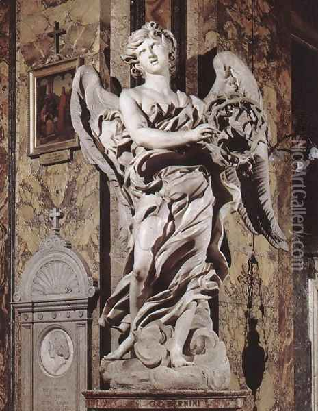 Angel with the Crown of Thorns Oil Painting - Gian Lorenzo Bernini