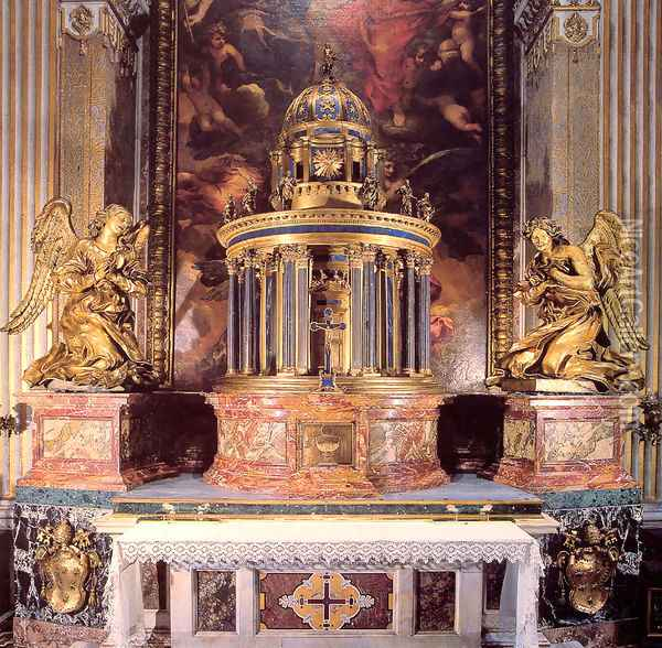 Altar of the Cappella del Sacramento Oil Painting - Gian Lorenzo Bernini