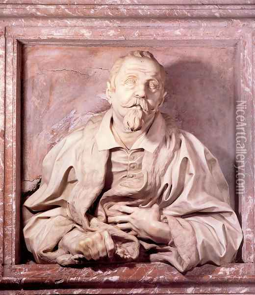 Memorial Bust of Gabriele Fonseca Oil Painting - Gian Lorenzo Bernini