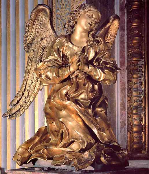 Altar of the Cappella del Sacramento [detail] Oil Painting - Gian Lorenzo Bernini