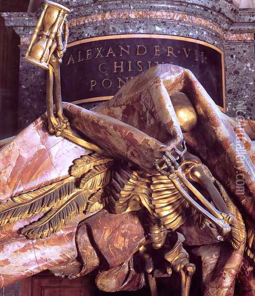 Tomb of Pope Alexander VII [detail of Death] Oil Painting - Gian Lorenzo Bernini