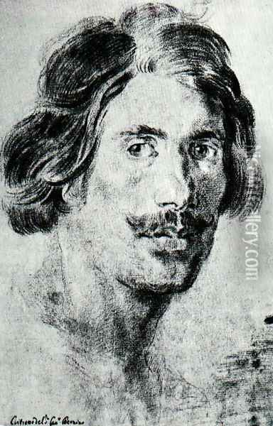 Portrait of a Man with a Moustache Oil Painting - Gian Lorenzo Bernini